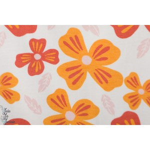 Jersey bio Flower Power Crême rétro vintage fleur graphique mode elvelyckan design orange