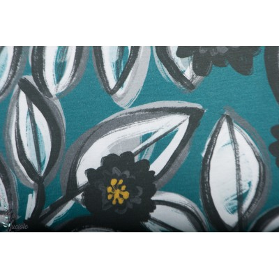 Modal Lillestoff Cara en pétrole feuille fleur bleu enemenemeins femme