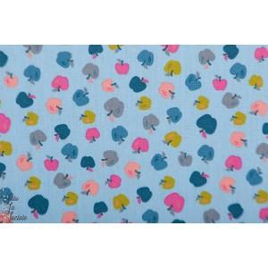 Popeline Poppy Sweet Apples bleu bleu graphique pomme