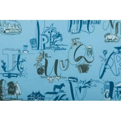 Jersey Bio Lillestoff Happy ABC Bleu alphabet lettre