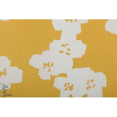 Toile imperméable Rico fleur jaune laminé pluie japon