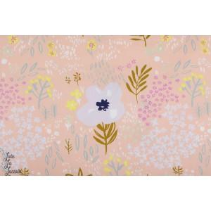 Popeline fleurs métalisé fond corail Rico Design