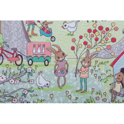 Jersey bio Osterwelt Susalabim Lillestoff - Paques lapin chasse oeuf enfant