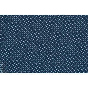 tissu coton bio Popeline Marching marbles Bleu foncé, marine,motifs géométriques