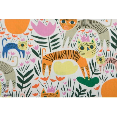Popeline Bio Queen of Beasts Multi cloud9 animaux orange couleur  wild