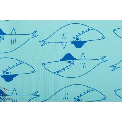 Tissu Summer Sweat Big Shark Sweat bleu rerquin enfant katia