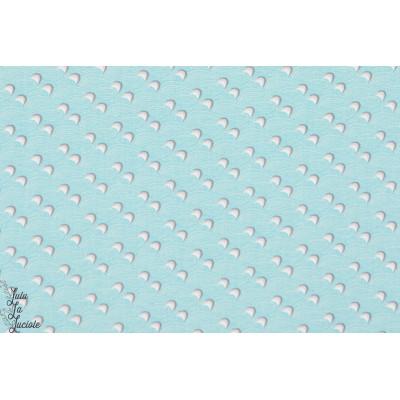 tissu coton Popeline Bio We Want Wave Bleu clair, motifs géoémétrique, soft cactus