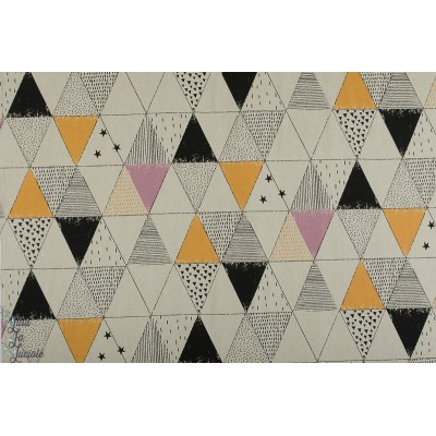 Tissu Canvas Gold Geometric Space accessoire sac katia graphique or