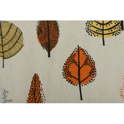 Tissu Canvas Gold Leaves Katia feuille graphique or