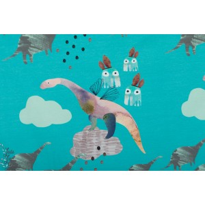 Sweat Bio Roo WORLD BEYOND Turquoise story dino enfant lapin