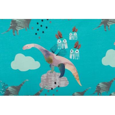 Sweat Bio Roo WORLD BEYOND Turquoise story dino enfant lapin