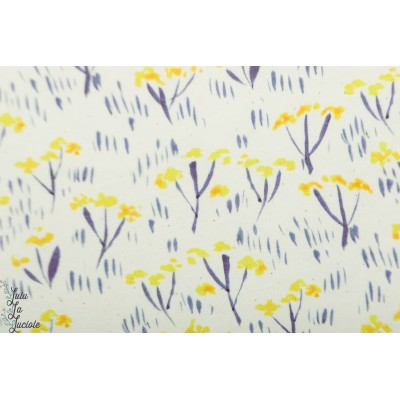 french terry Cornflower About Blue fleur printemps jaune