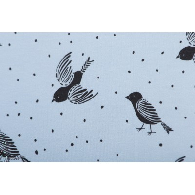 Summersweat bio Birds and dot Blue lillestoff oiseau pois graphique bleu
