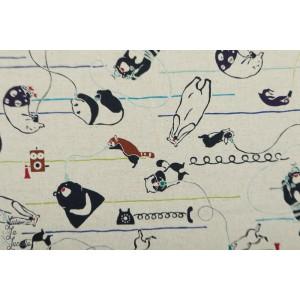 Canvas Kokka Mosotto - au bout du fil animaux téléphone
