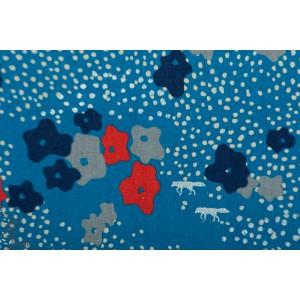 Toile coton et lin ''Floret'' en turquoise par Echino