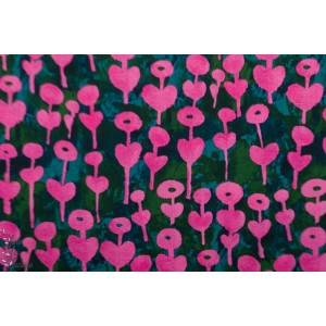 Rayon cotton Steel Once upon a time love flower