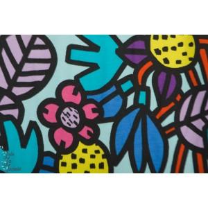 Jersey fleurs graphiques couleur