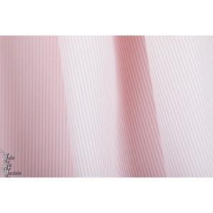 popeline Bio rayé blanc rose Florencia