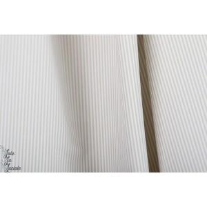 Popeline bio rayé blanc beige Hilco Florencia