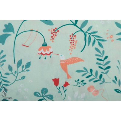 Popeline Katia Flower Dream fleur vert