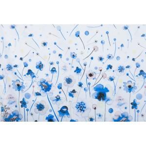 Popeline Ink Flowers bleu fond blanc panneau coton p&b textile fleur
