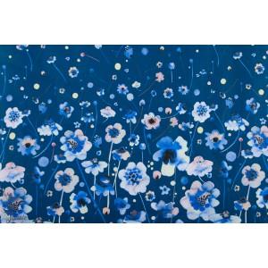 Panneau Ink Flower fleur sur fond bleu p&b textile popeline