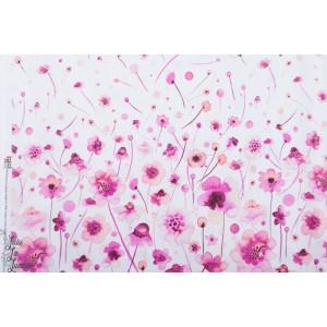 Panneau Ink Flower fleurs rose fd blanc P&B textiles popeline