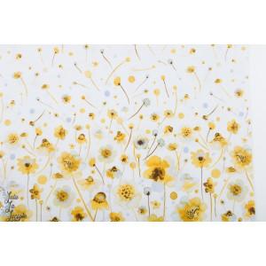 Panneau Ink Flower fleur jaune fond blanc popeline P&B textiles