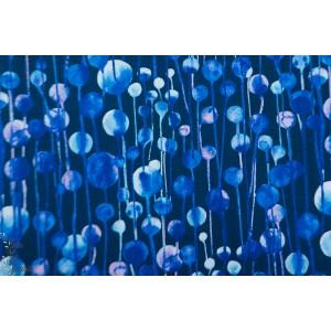 Popeline Ink Flower  bulle bleu coton p&b textile fleur patch