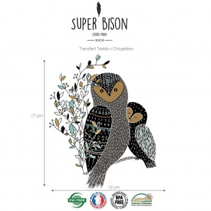 couture,Transfert SUPER BISON Chouettes, thermocollant, personnalisation T-shirt