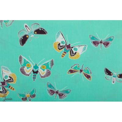 Popeline AGF Odyssey Dewdrop - LUGU papillon vert art gallery fabric