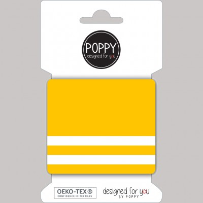 Cuff Poppy jaune et blanc rayure bord cote teddy blouson