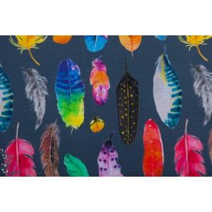 Jersey Digital plumes fond bleu stezno graphique couleur
