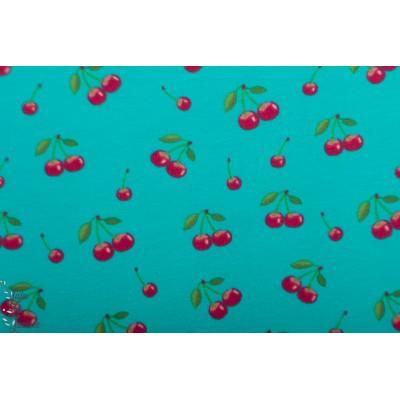Jersey Digital Stenzo Cerise sur fond turquoise bleu vintage fruit rétro graphique fille