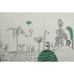 Jersey Double Bordure dessin animaux enfant graphique poetique layette