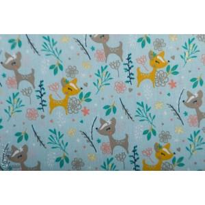 Popeline Poppy oh deer Glitter bleu coton enfant biche faon bambi vintage