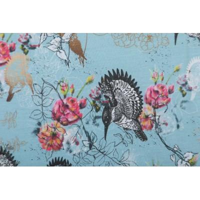 Modal Lillestoff Flora Und Fauna faune et flore oiseau bleu été