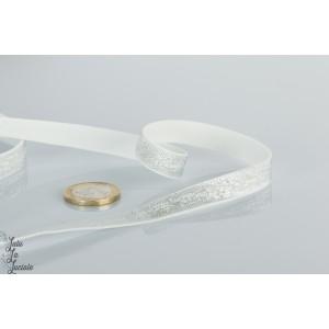 Ruban 10mm élastique 64122 blanc brillant irissé au mètre