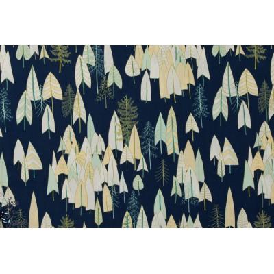 Tissu popeline coton Forêt sur fond bleu marine 1208Navy, Collection Altitude par Pippa pour Dashwood