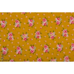 Popeline Poppy Delighful rose ocre fleur vintage moutarde jaune