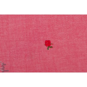 Popeline brodée rose rouge graphqiue fleur denin