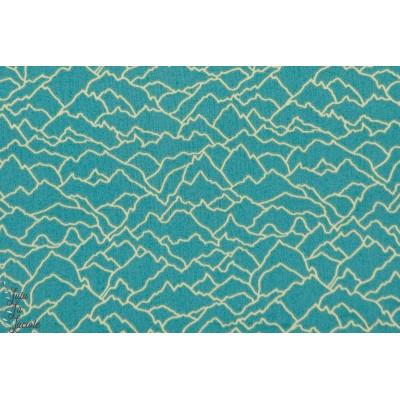 tissu couture popeline coton Chaîne de montagnes en bleu ALTI1213 dark teal Collection Altitude par Pippa pour Dashwood