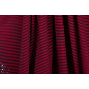 Jersey rayé Dunkelblau rouge Lillestoff - fine rayures