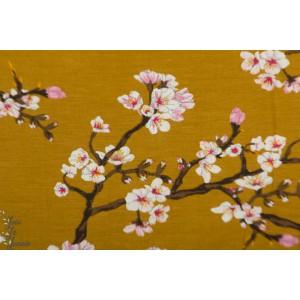 Modal Jersey Blossom Moutarde jersey poppy fleur cerisier mode femme
