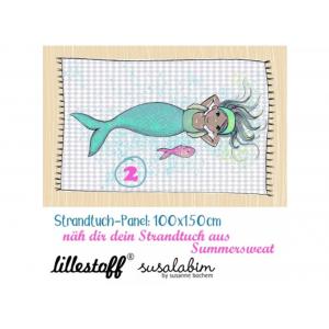 Panneau Summersweat Bio : Serviette Meerjungfrau 2  Sirène Susalabim lillestoff