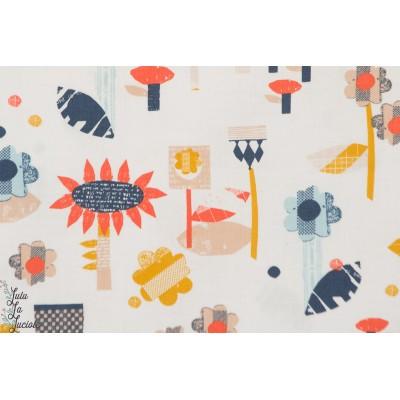 Tissu popeline de coton Fleurs géométriques sur fond rose   PMEA - 1199 Collection Paper Meadow par Dashood Designer : Jilly P S