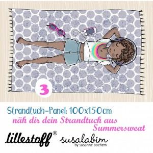 panneau Summersweat bio : Serviette Mädchen 3, Strandtuch Susalabim lillestoff