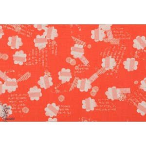 tissu popeline de coton Fleurs sur fond orange PMEA-1202 Collection Paper Meadow par Dashwood Designer : Jilly P Studio