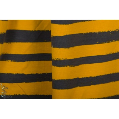 Sweat Poppy Groovy stripes noir jaune rayure