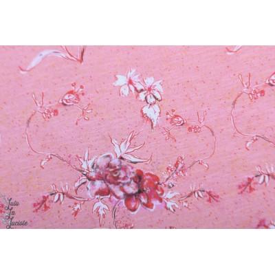 Slub jersey Bio Lillestoff Filigran fleur rose mode femme été